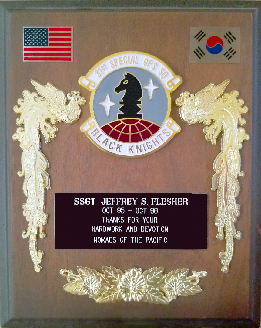31st Special Operations Black Knights Squadron MH-53 Helicopter Crew Chief Staff Sergeant Jeffrey Scott Flesher USAF Plaque